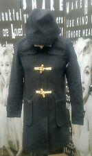 """Mens Superdry duffel coat grey wool blend hoodie Small C36"""""""