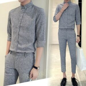Image Is Loading Men Fashion Casual Prom Formal Dress Pant Suits