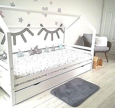 kinderbett kinderhaus mit bettkasten kinder holz spielbett hausbett 90x200 wei ebay