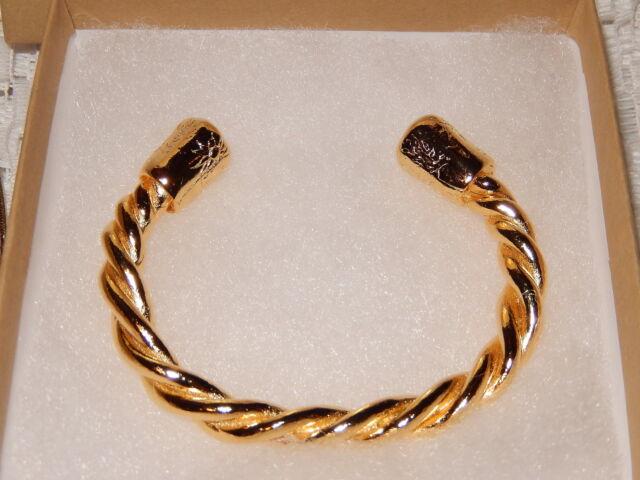 JES MAHARRY HARMONY TWISTED ROPE CUFF BRACELET 18K YELLOW GOLD PLATED NIB