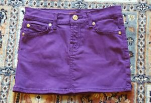 6bd6633c54 Image is loading 7-for-all-MANKIND-purple-stretch-denim-skirt-
