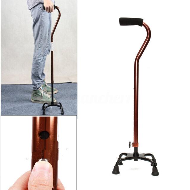 Anti-slip Height Adjustable Quad Walking Stick Self-Standing Cane Aid Aluminium