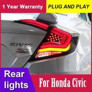 Pair LED Tail Lights For Honda Civic 2016-2019 Rear Brake Reverse Lamp Assembly