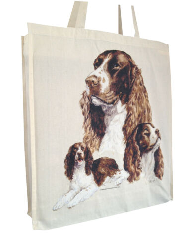 Springer Spaniel Group Cotton Shopping Bag Tote Short or Long Handles
