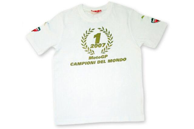 DUCATI Puma Corse MOTO GP Weltmeister T-Shirt weiß Casey Stoner Siegerkranz