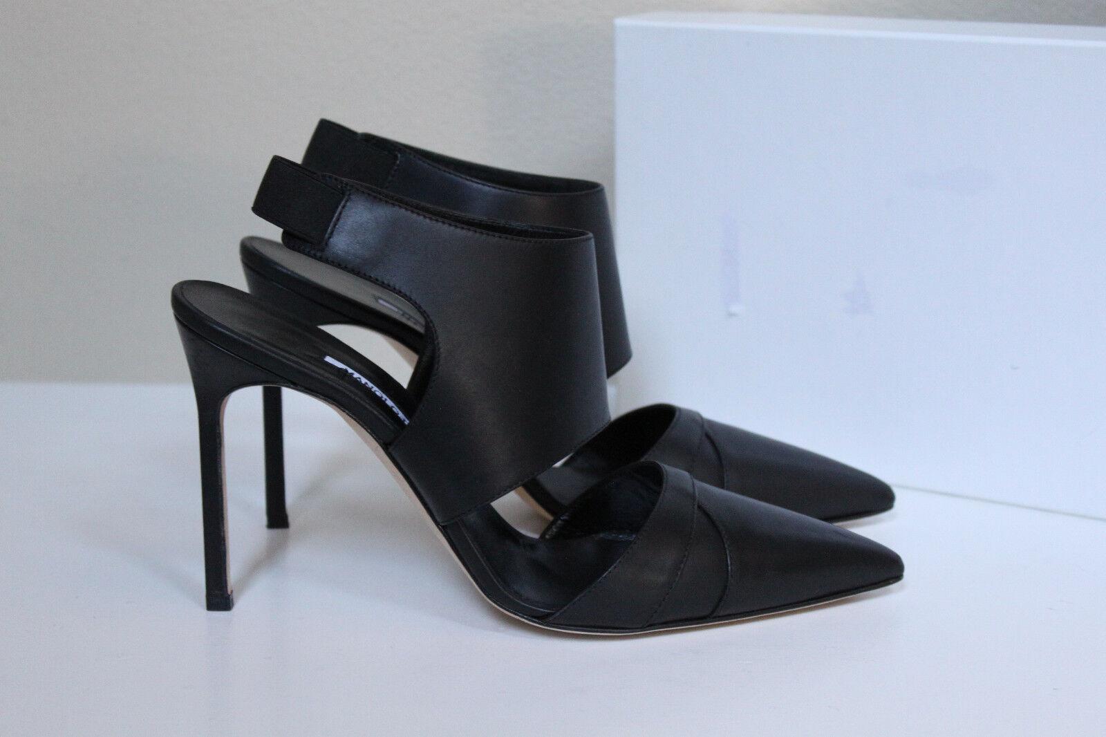 Nuevas Talla 10.5 40.5 Manolo Blahnik Blahnik Blahnik de cuero negro zapatos de bomba de envoltura de tobillo loyalclo  tienda de pescado para la venta