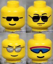 LEGO - 4x Male Heads Lot - Yellow Black Silver Blue Sunglasses Faces