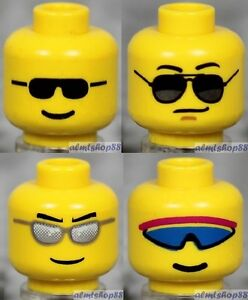LEGO Yellow Faces Laugh Grin Chin Dimple Town 4x Heads Lot Kids Girl Boy