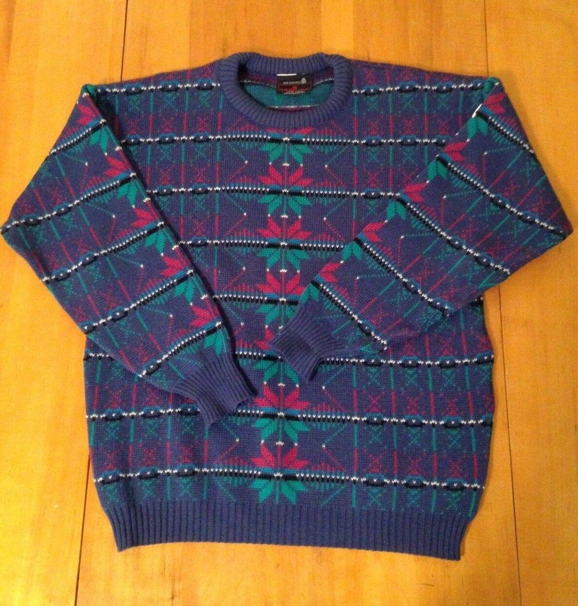 VTG 80s 90s DEMETRE Geometric Ski Sweater 100% Pure Virgin Wool Women's Size L