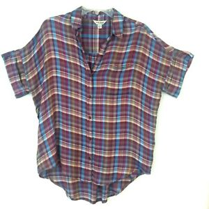 Lucky-Brand-Button-Front-Shirt-Blouse-Womens-Small-S-Purple-Blue-Checks-S-S-Top