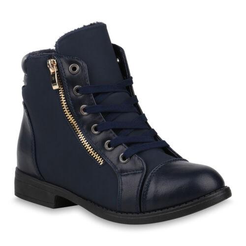 Damen Schnürstiefeletten Gefüttert Stiefeletten Leder-Optik 820163 Schuhe