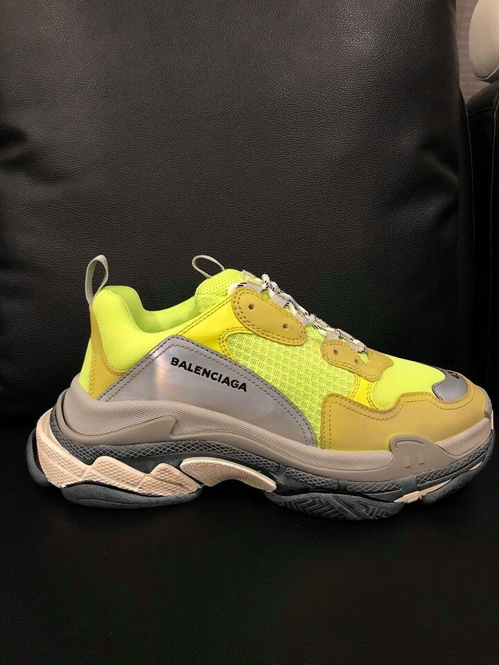 NIB Balenciaga Triple S Sneaker Neon Yellow Grey Speed Flat Trainer 43 Men US 10