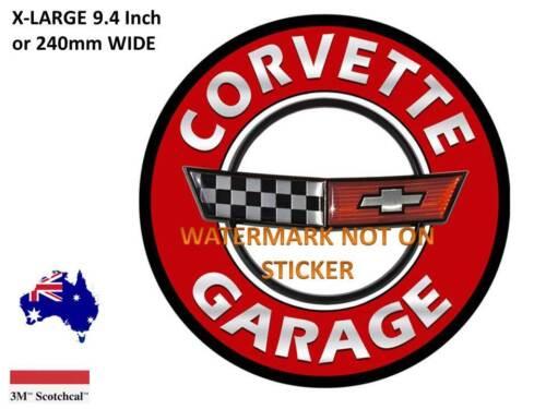 240 mm DIA USA NEW VINTAGE CORVETTE  GARAGE  DECAL STICKER LARGE 9.4 INCH