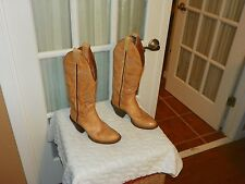 Women's Vintage Sanders Boot Co Tan Leather Handcrafted Cowboy Boots size 5.5 B