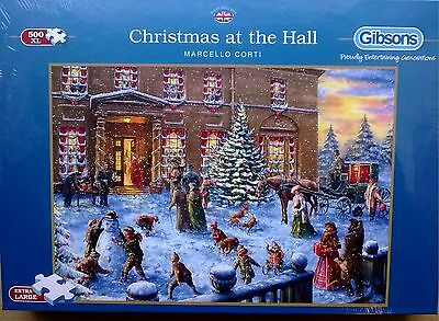 GIBSONS JIGSAW PUZZLE 500XL pcs  CHRISTMAS AT THE HALL MARCELLO CORTI ! £9.99