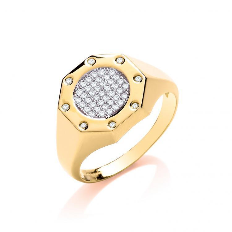 9ct gold Hallmarked Top Fashion Octagon Gents Ring