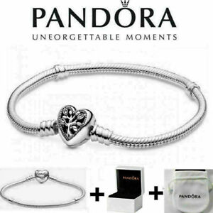Details about Genuine Silver Pandora Moments Family Tree Heart Clasp Snake  Chain Bracelet+Box