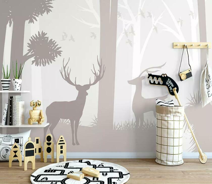 3D Forest Elk N2183 Wallpaper Wall Mural Removable Self-adhesive Sticker Amy