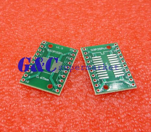 2pcs SOP20 SSOP20 TSSOP20 to DIP20 PCB SMD DIP//Adapter plate Pitch 0.65//1.27mm