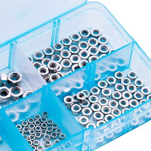 1X 250 Pcs//Set M1.6 M2 M2.5 M3 M4 Carbon Steel Hex Nut Assortment Kit Hexago W2E