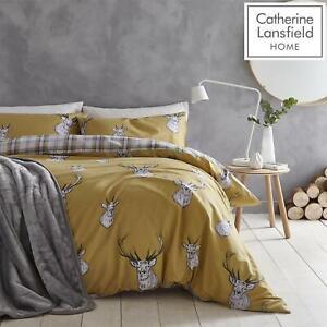 Catherine-Lansfield-Cervo-Tartan-REVERSE-Easy-Care-Copripiumino-Biancheria-Da-Letto-Set-Ocra