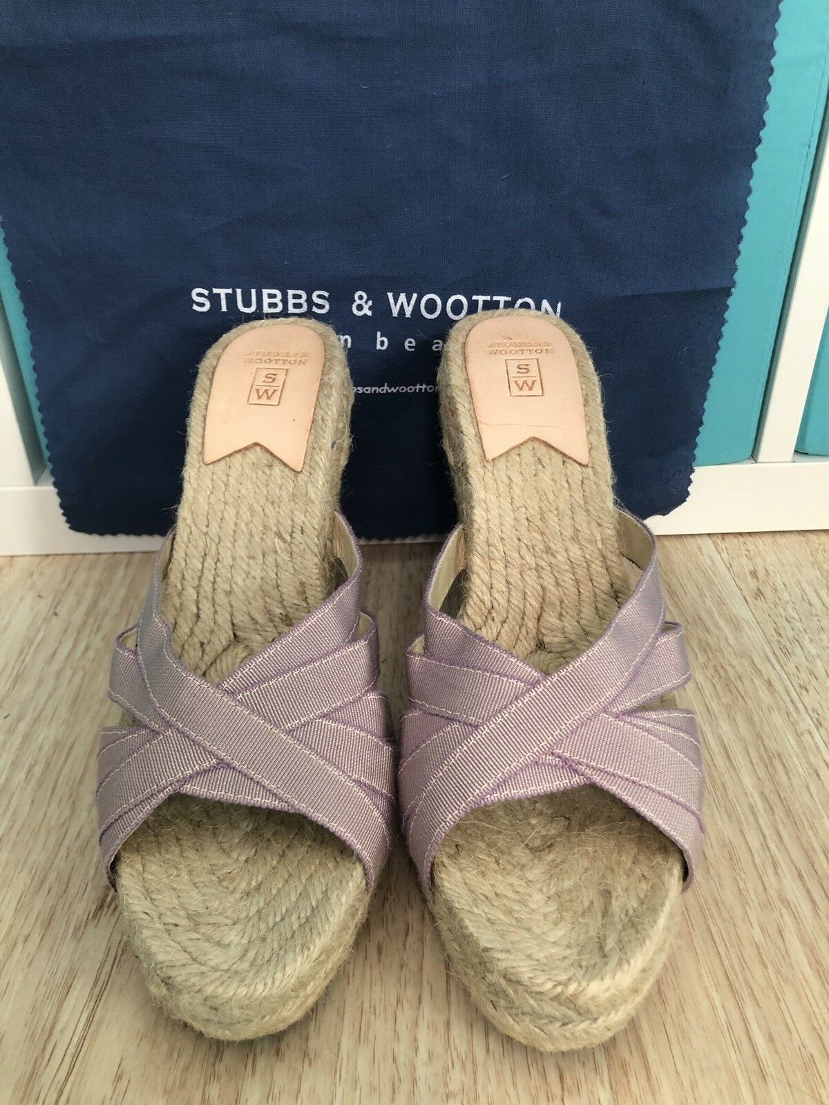 NEW w out box Stubbs & Wootton WOMEN GRACE RIB Ribbon Rosita Purple lavender 40
