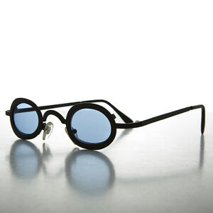 9dd6d8183eb0 Image is loading Small-Oval-Blue-Lens-Spectacle-Vintage-Sunglass-Desert