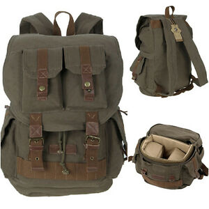 Vintage Canvas DSLR SLR Camera Backpack School Travel Bag For ...
