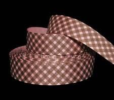 """5 Yards Pink Black Diagonal Gingham Satin Ribbon 7//8/""""W"""