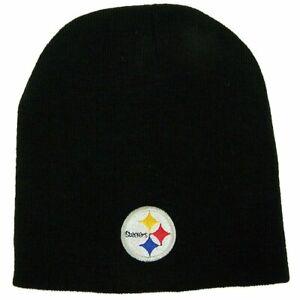 Pittsburgh Steelers NFL Black Skull Cap - Cuffless Beanie Winter Knit Hat