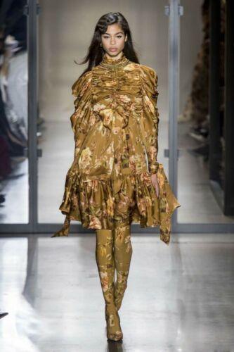 2019 Femme Inspiration Designer De Luxe Taille Haute Floral à Volants Col Haut Robe