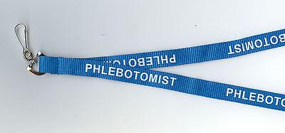 NEW! 1  x  'PHLEBOTOMIST' Blue Neck Strap ID Lanyard: FREE UK P&P