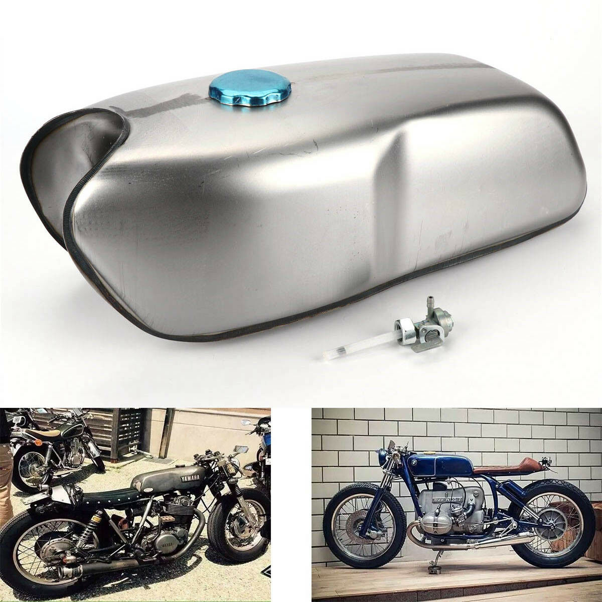 Bruce /& Shark 9L//2.4 Gallon Gas Fuel Tank Universal for Most Cafe Racer for B M W for Honda for Yamaha for Suzuki
