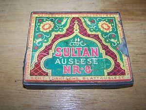 Ancienne-Boite-de-Conserve-Boite-Cigarettes-Etui-a-Dresden-Sultan-Lecture-Nr-8