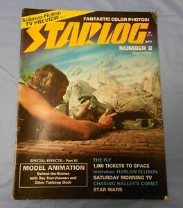 1977-STARLOG-8-Harryhausen-STAR-WARS-Harlan-Ellison-KISS-Love-Gun-FN