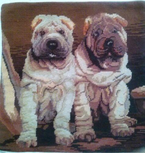 "NeedlePoint Sharpee Dog twins Pillow Sham 16/"" Square"