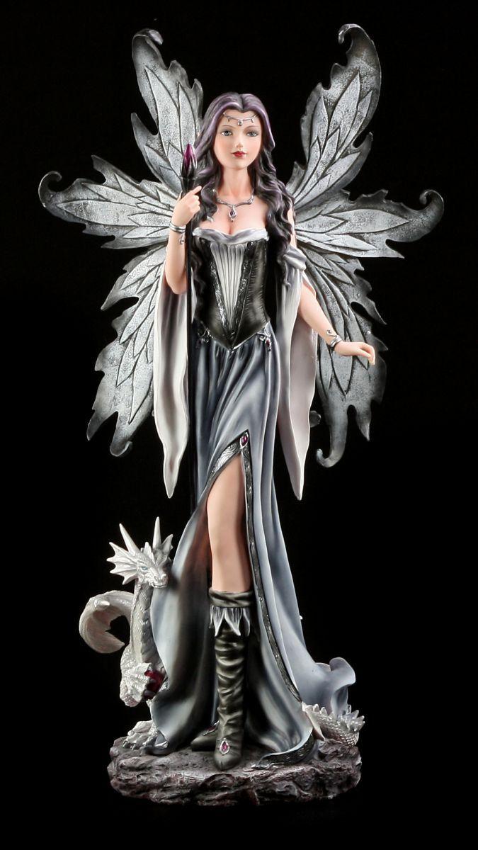 Big Elf Figurine with Magic Wand and Dragon - Fairy Witch Statue XXL