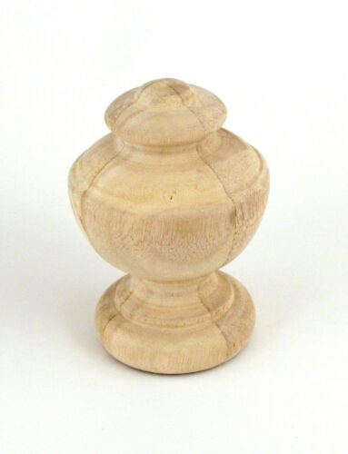 """Wood Tudor Finial for 1 3//8/"""" Drapery Rod Unfinished Mounting Screw Installed"""