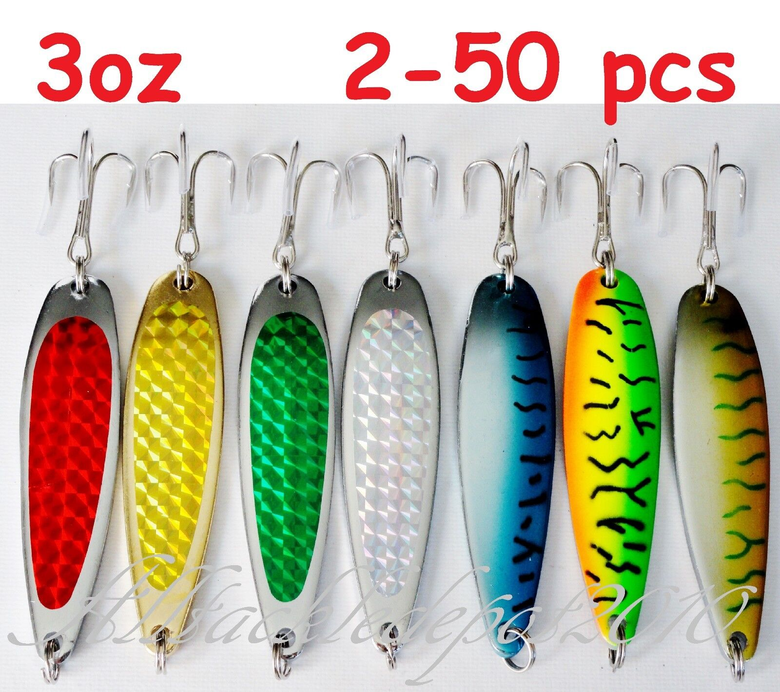 2-50 pcs Casting 3oz Crocodile Spoons Fishing Lures-Choose color and Qty