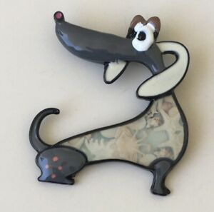 Vintage-style-artistic-Dachshund-dog-brooch-Pin-enamel-on-metal