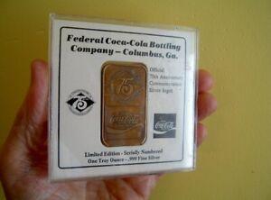 OLD Federal Coca Cola Bottling Co BRONZE 1 OUNCE Coke ART BAR n CASE 75th Anniv.