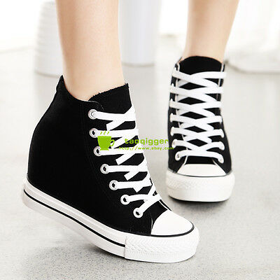 New Womens Hidden Wedge Canvas High-Top Lace Up Platform Sneakers Trainers Shoes