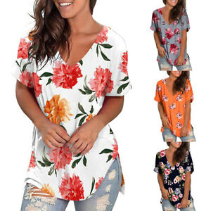 Women-Summer-Floral-V-Neck-Short-Sleeve-T-Shirt-Casual-Loose-Tunic-Tops-Blouse