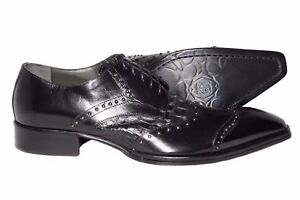 971c35da9aea Details about Jo Ghost 738 Italian mens black leather lace up shoes with  studs and crocodile p