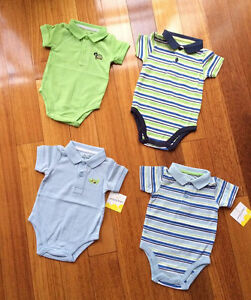 NEW-Baby-Boy-2-button-Polo-Short-Sleeve-Bodysuit-Size-0-3-6-9-12-18-24-months