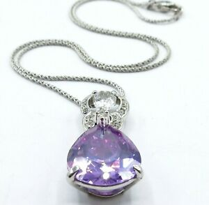 Nolan-Miller-Silvertone-Purple-Crystal-Teardrop-Pendant-Necklace-18-034-Signed
