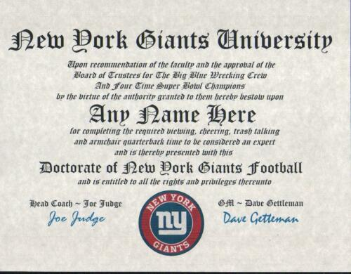NEW YORK GIANTS~ MAN CAVE ~ CERTIFICATE ~ DIPLOMA   GIFT FUN  BIG BLUE
