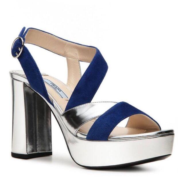 e124a21b174 Buy PRADA Lame Suede Metallic Leather Platform Sandal PUMPS HEELS US ...