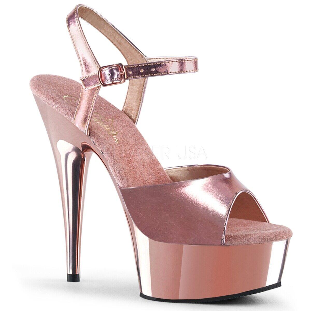 Pleaser Delight-609 shoes pink gold Chrome Ankle Strap Platform Strappy Sandals