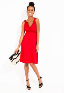 Super remise sélectionner pour authentique gamme complète de spécifications Détails sur Robe de grossesse rouge NEUF